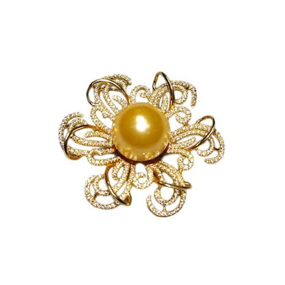 Picture of 18K Gold Diamond Detailing with Golden Southern Pearl Pendant