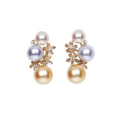 Picture of 9K Gold Akoya Pearl Beads Earrings