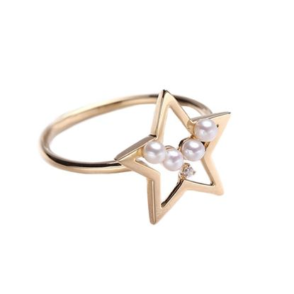 Picture of 18K Gold Akoya Pearls Star Ring
