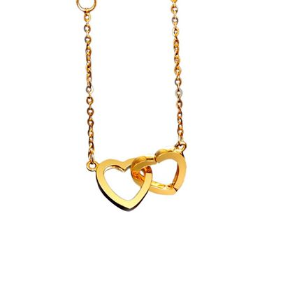 Picture of 18K Gold Double-hearts Set Necklace