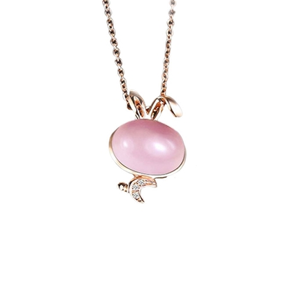 Picture of IDEAL 18K Rose Gold Rabbit Rose Quartz Pendant