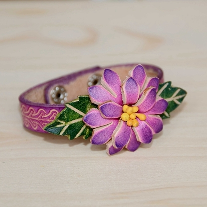 Picture of Handmade Leather Bracelet - Various Flower