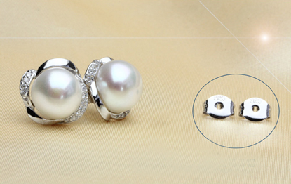 Picture of Rosette Pearl Stud Earrings