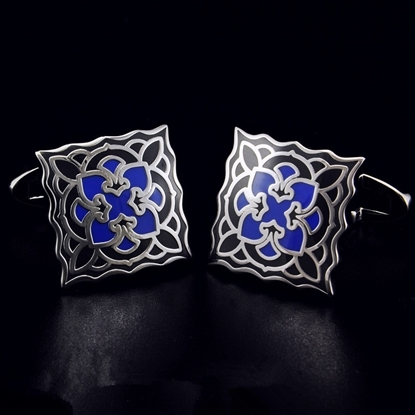 Picture of French Cufflinks - Sparta Enamel / Blue Blossom