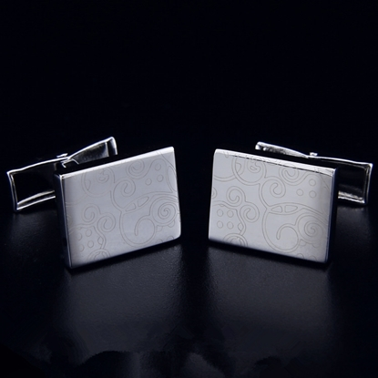 Picture of French Cufflinks - Sparta Laser Carving / Modern