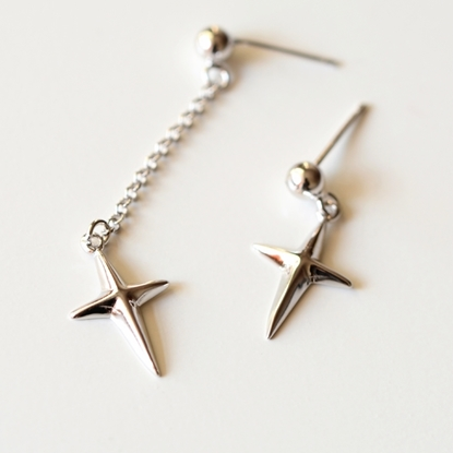 Picture of A Studio Solid 925 Fine Silver Drop Earrings - Punk-style Cross