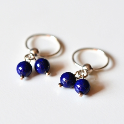 Picture of A-Studio Solid 925 Fine Silver Hoop Earrings - Lapis Lazuli