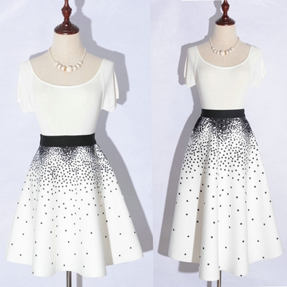 Picture of F/W Factory Autumn Printed High Waist Ball Gown A-line Skirt - Star Dots