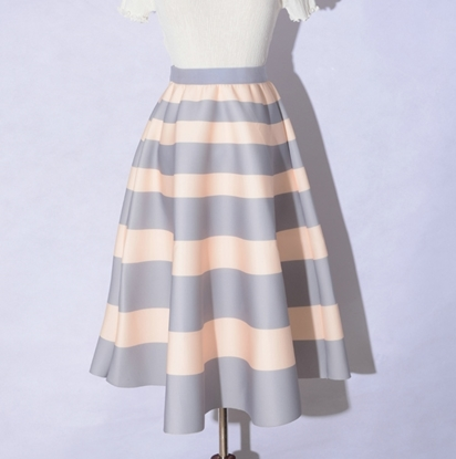 Picture of F/W Factory Autumn Printed High Waist Ball Gown A-line Skirt - Stripe