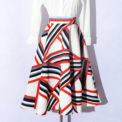 Picture of F/W Factory Autumn Printed High Waist Ball Gown A-line Skirt - Geometric Stripes Plaid
