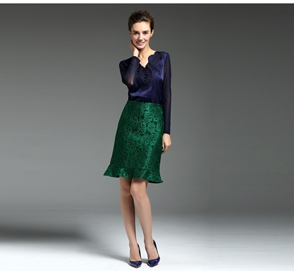 Picture of F/W Yihui Autumn Green Lace Elegant Fishtail X-line Skirt