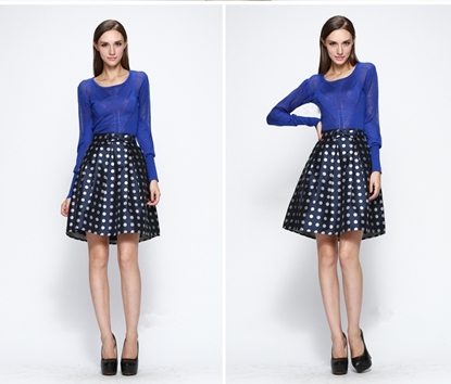 Picture of F/W Yihui Autumn High Waist Bow-embellished Ball Gown A-line Skirt - Dots