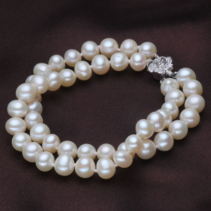 Picture of Vivi Double Circle 6.5-7mm Classical White Freshwater Pearl Bracelet