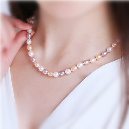 Picture of Tear of Sea Grain Shape Freshwater Pearl Necklace