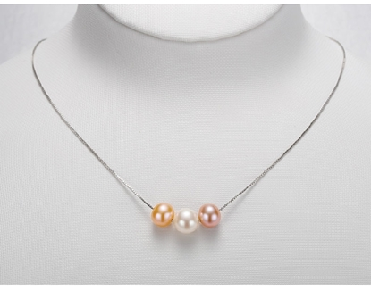Picture of Tear of Sea White&Pink&Purple String Freshwater Pearl Short Necklace